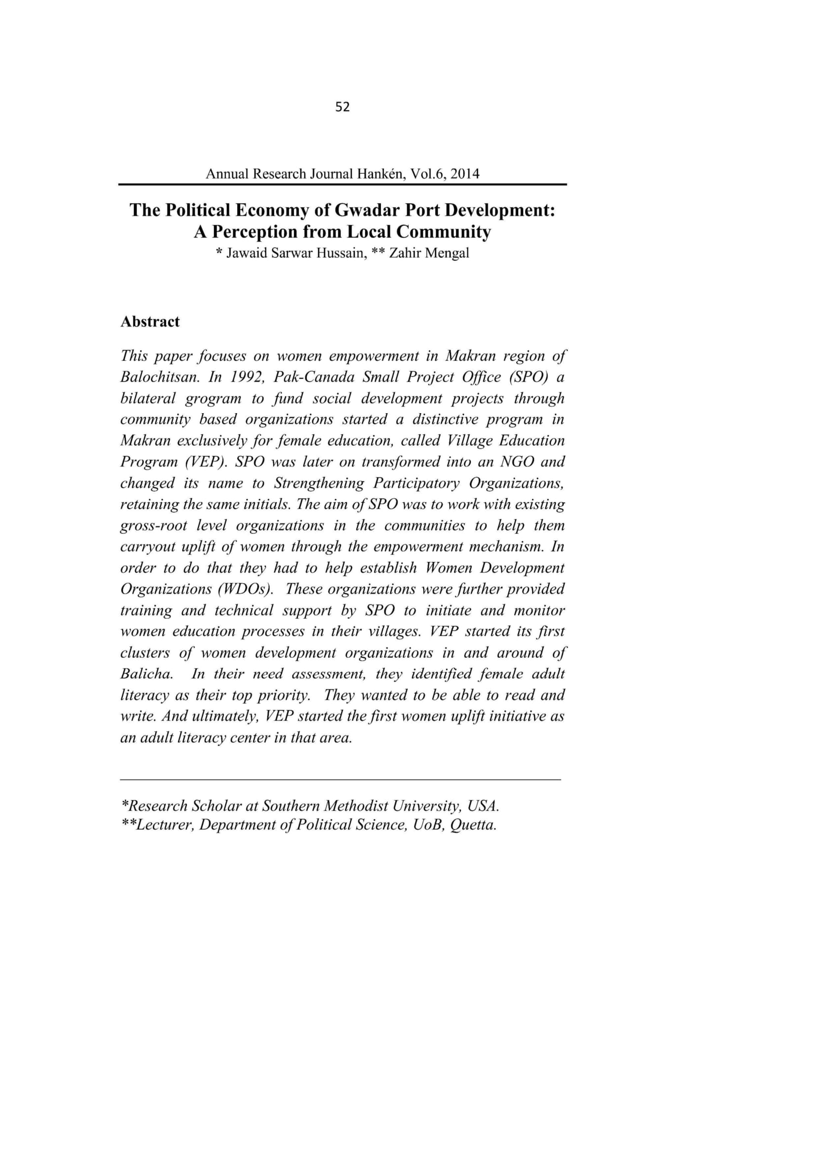 The Empowerment of Baloch Women: a Makrani Perspective