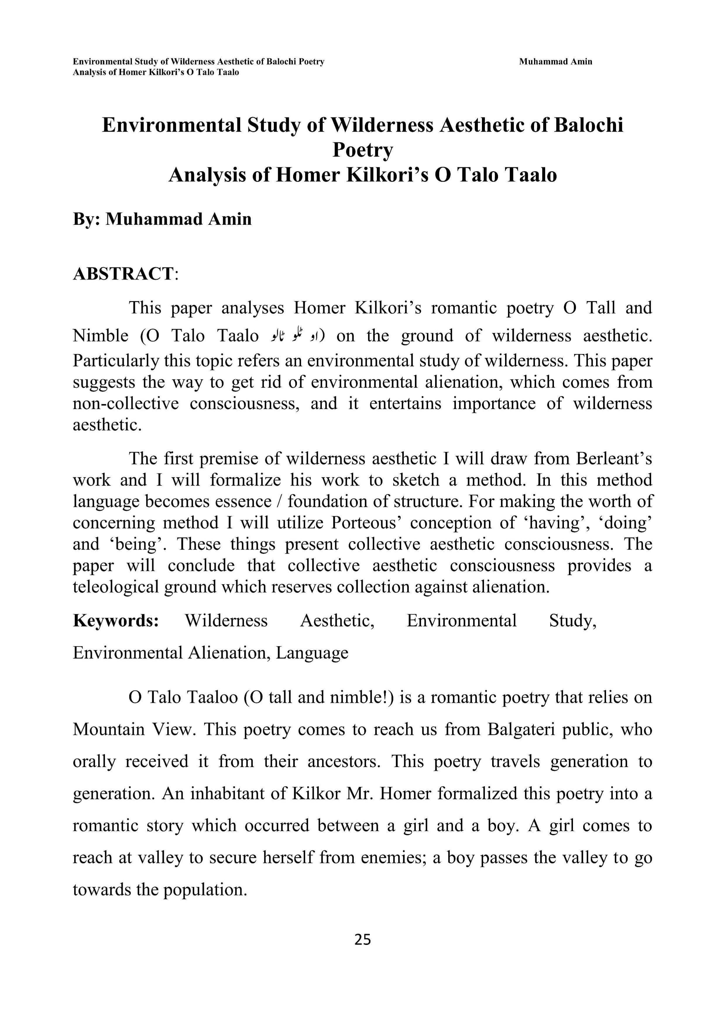 Environmental Study of Wilderness Aesthetic of Balochi Poetry Analysis of Homer Kilkori's O Talo Taalo