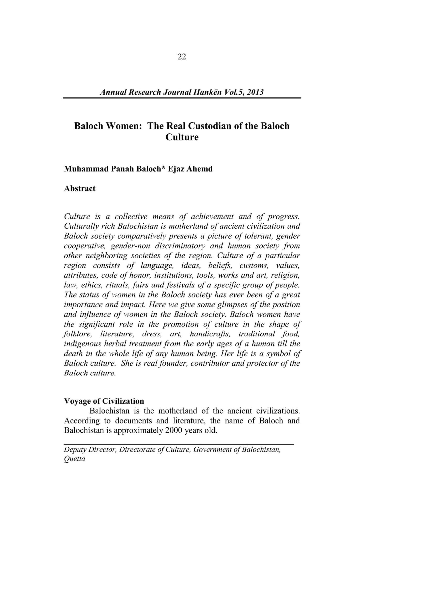 Baloch Women:  The Real Custodian of the Baloch Culture