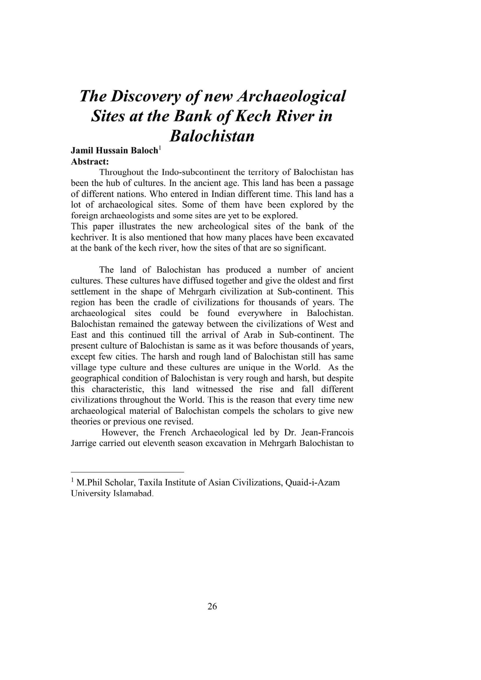 The Discovery of new Archaeological Sites at the Bank of Kech River in Balochistan