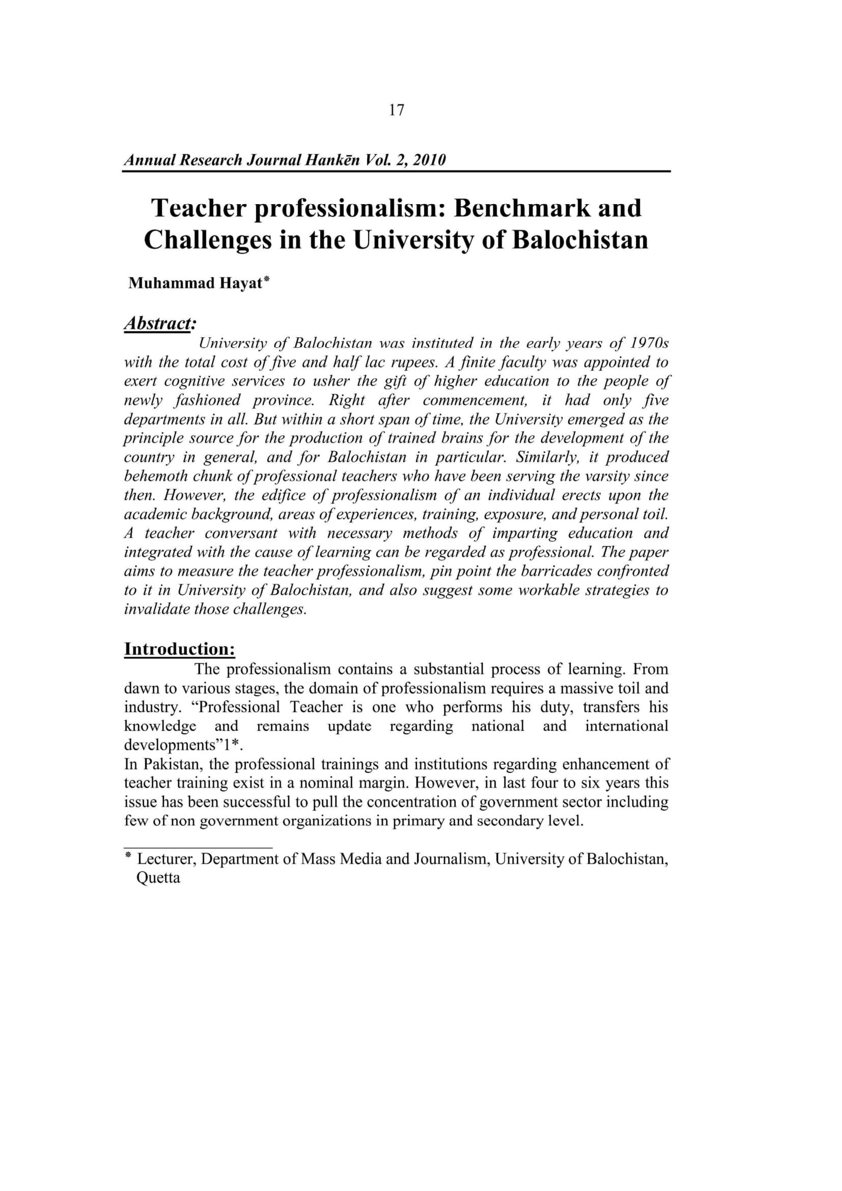 Teacher professionalism: Benchmark and Challenges in the University of Balochistan