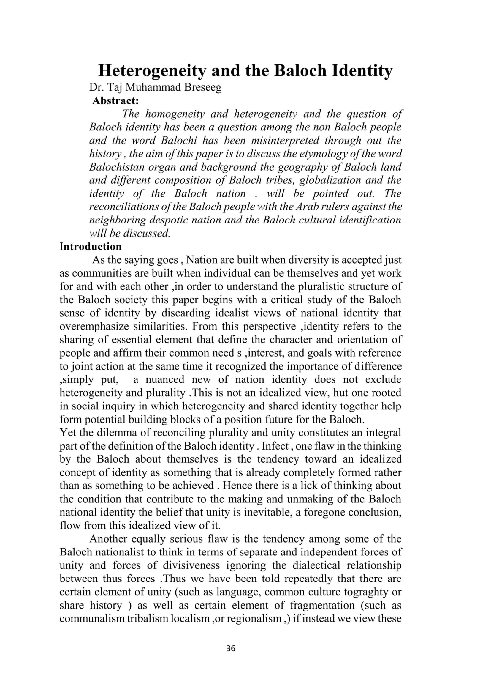 Heterogeneity and the Baloch Identity