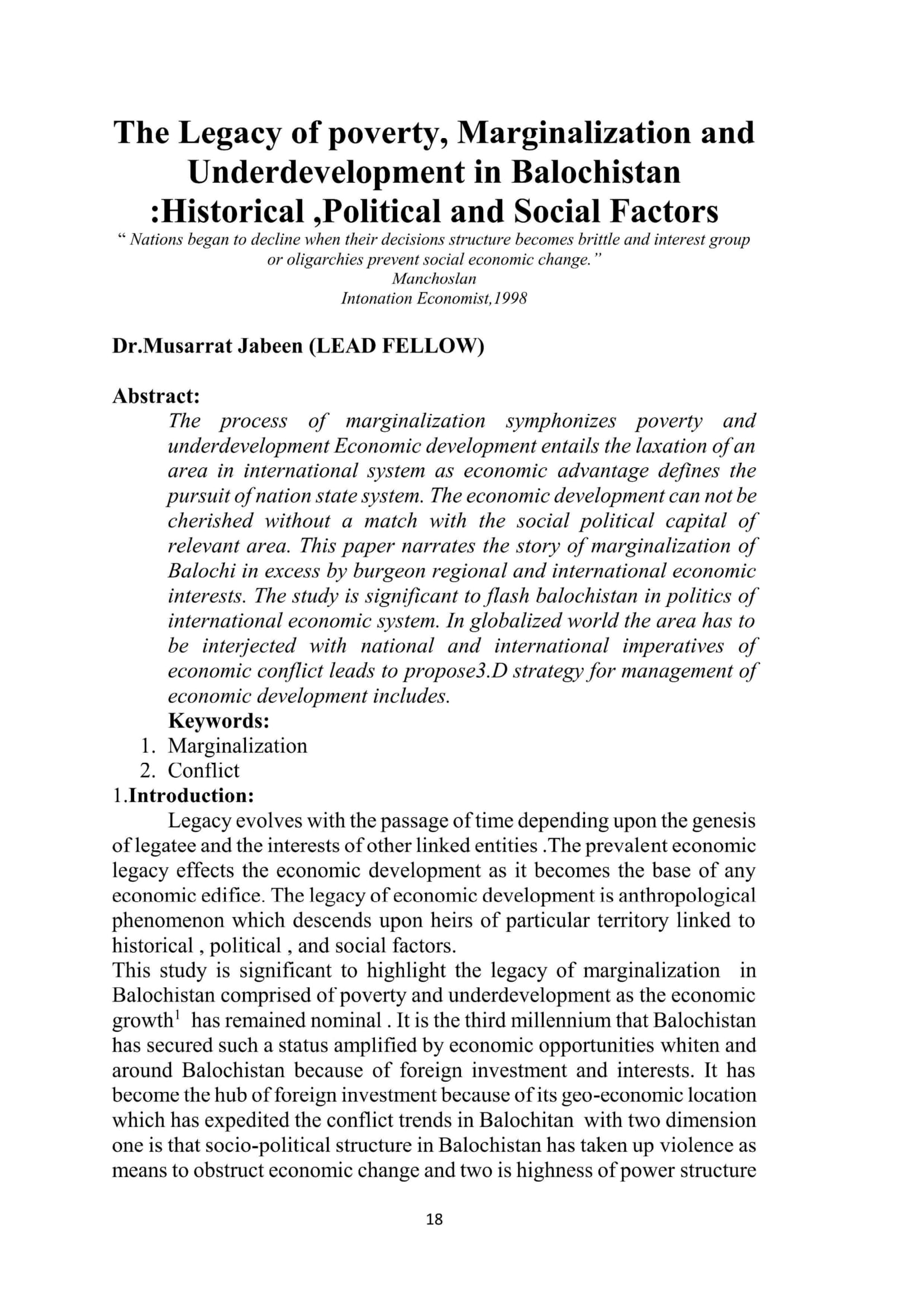 The Legacy of poverty, Marginalization and Underdevelopment in Balochistan :Historical ,Political and Social Factors