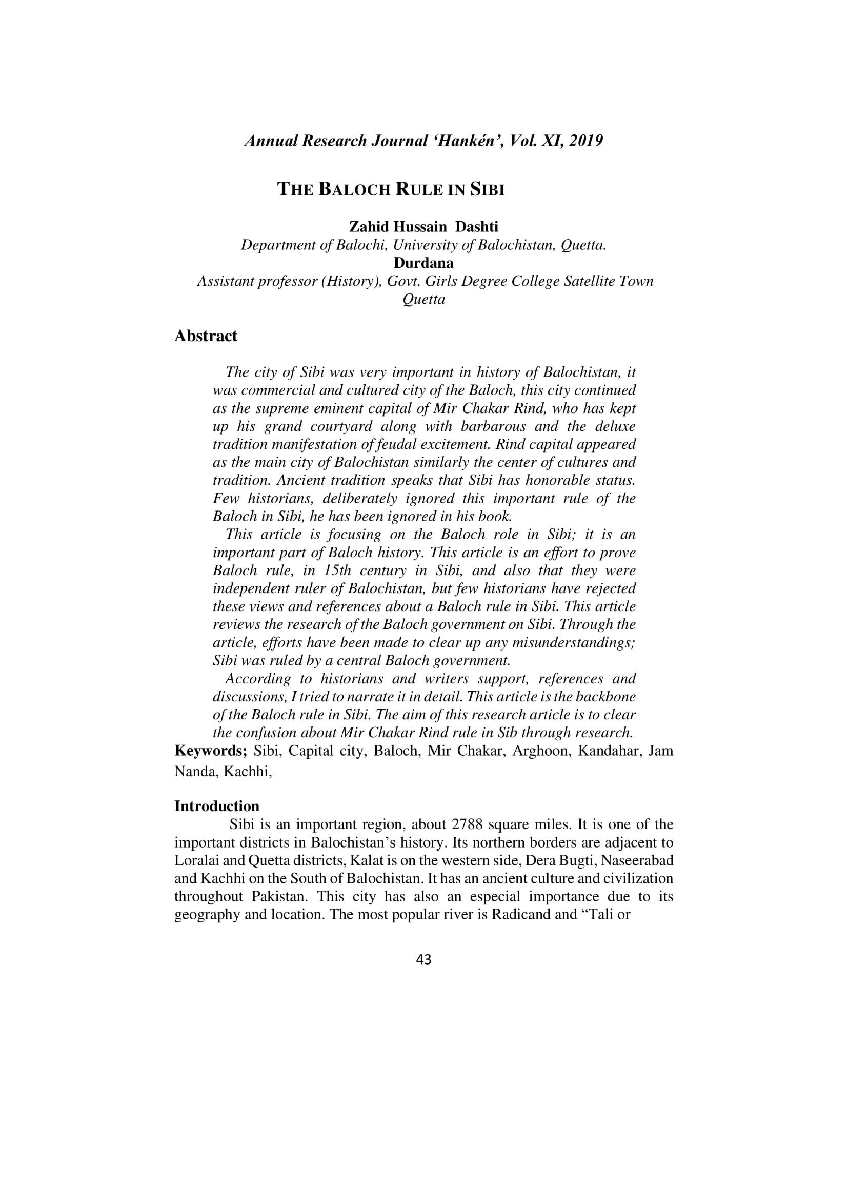 THE BALOCH RULE IN SIBI