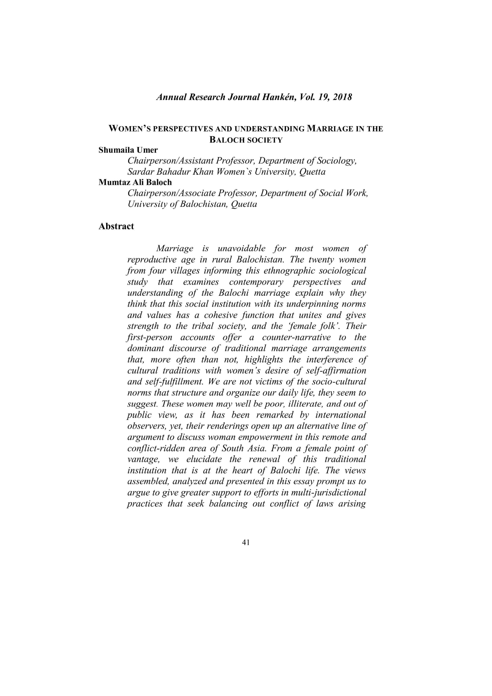 WOMEN'S PERSPECTIVES AND UNDERSTANDING MARRIAGE IN THE  BALOCH SOCIETY