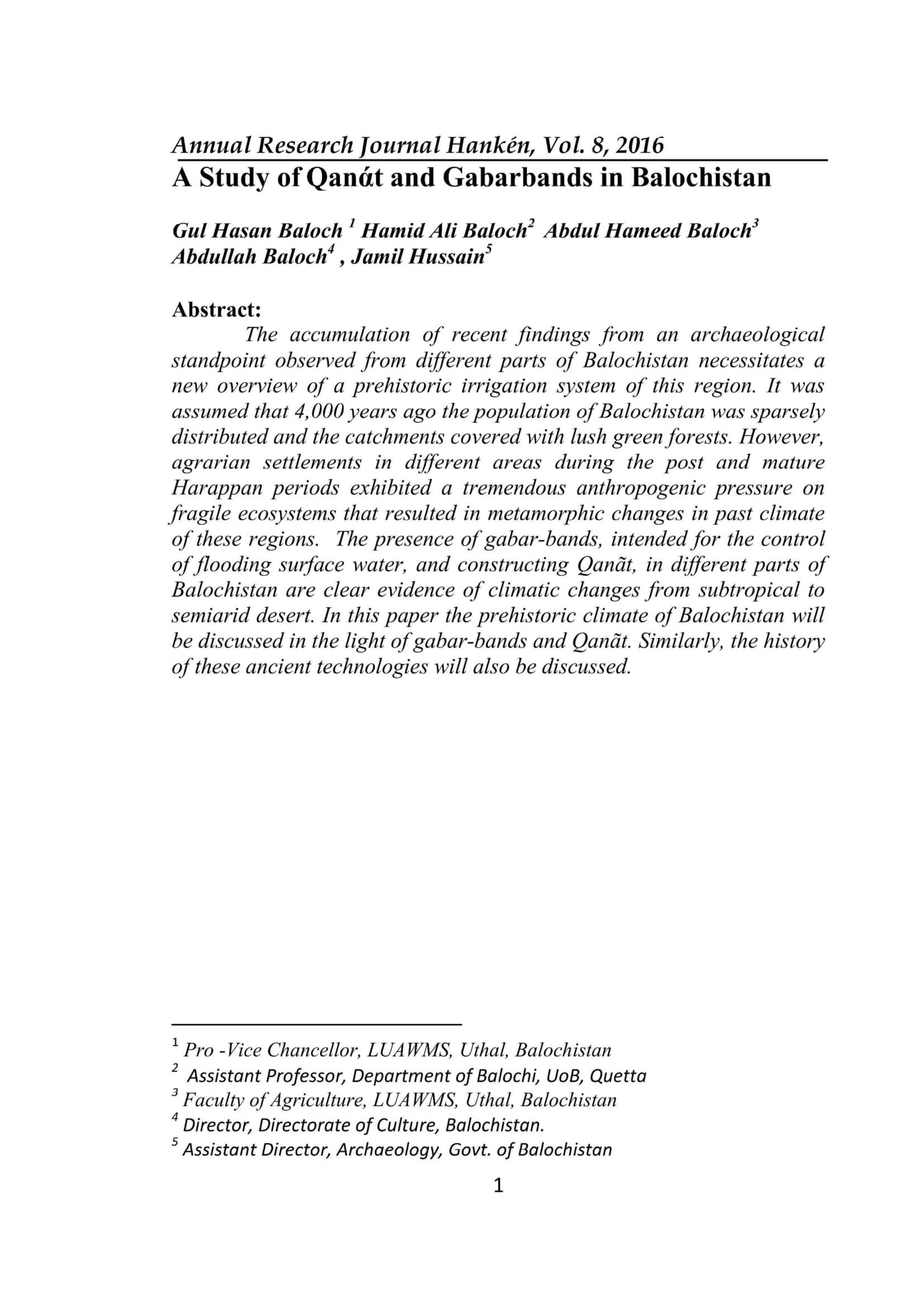 A Study of Qanάt and Gabarbands in Balochistan